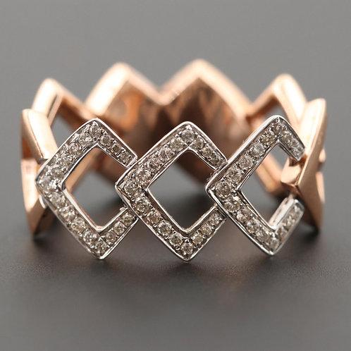 Diamond Chain 2 Toned 14K Gold Ring