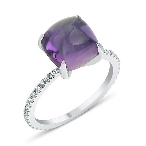 Cabouchon Amethyst Ring
