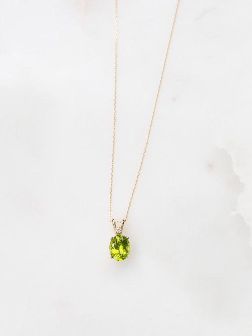 Vintage peridot and diamond necklace