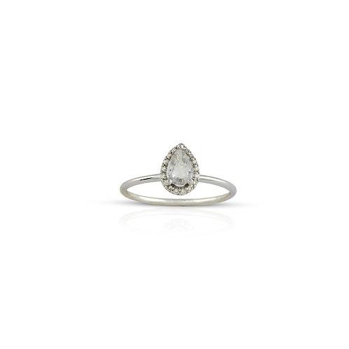 White Sapphire Tear Drop Ring