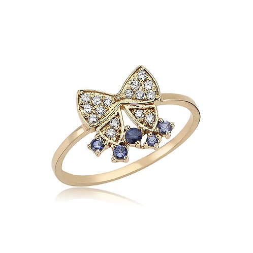 Diamond and Sapphire Bow Ring