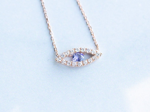Rose Gold Tanzanite and Diamond Necklace