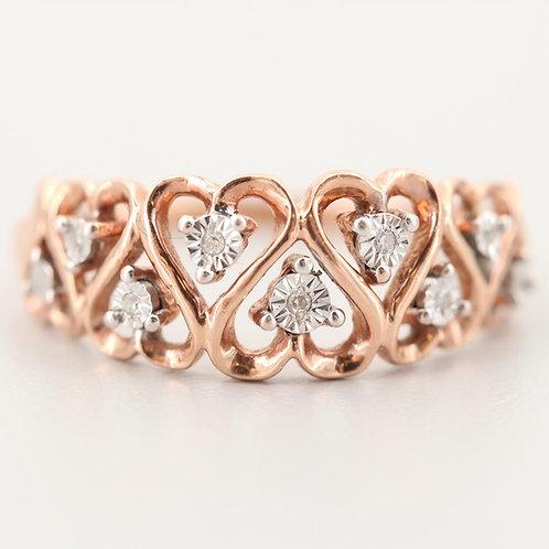 10K and Diamond Heart Ring