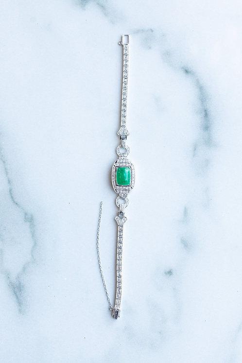 Cabochon Emerald and Diamond Bracelet