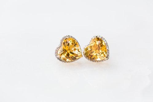 Citrine hearts with diamonds studs