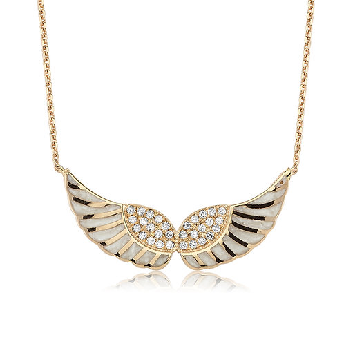 Enamel Wing Necklace with Diamonds