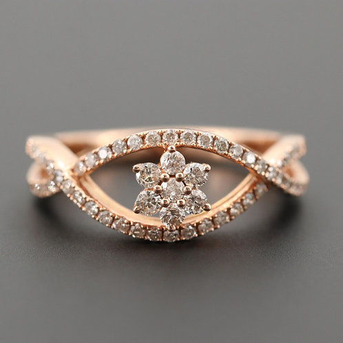 Diamond Flower 14K Rose Gold Ring