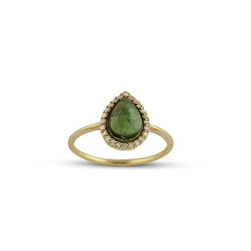 Green Tourmaline Tear Drop Ring