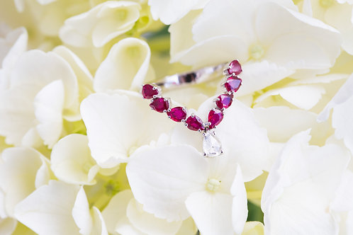 Dangle Diamond Ruby Ring