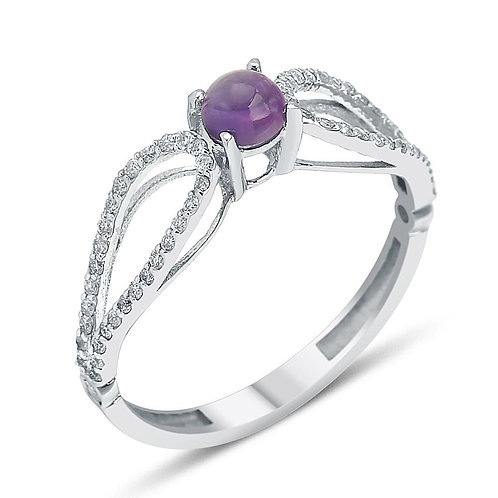 Amethyst and dia ring