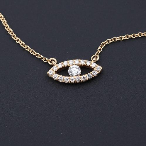 Diamond Evil Eye Necklace 18K Yellow Gold