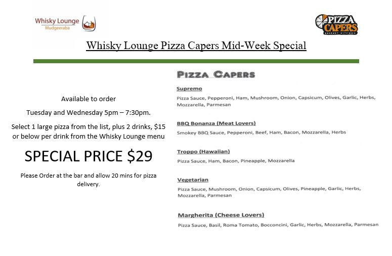 Whisky Lounge Pizza Capers Special Lands