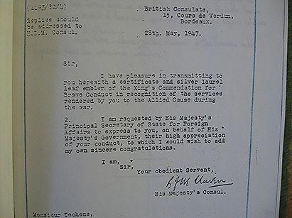 Certificat d'honneur de la chancellerie Anglaise pour Pierre Téchené