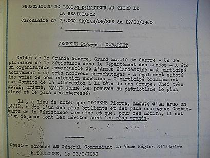 Légion d'honneur au titre de la résistance de Pierre Téchené