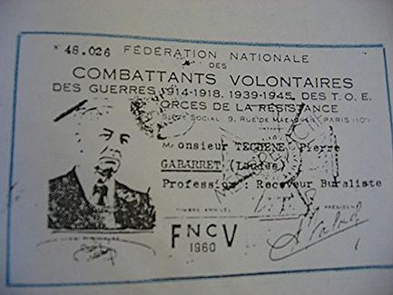 Pierre Téchené carte de combattant volontaire de la résistance 1939-1945