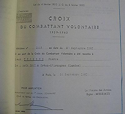 Croix de combattant volontaie de Pierre Téchené