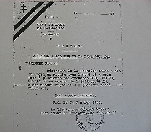 Citation à l'ordre de la demi brigade du Bataillon de l'Armagnac de Pierre Téchené