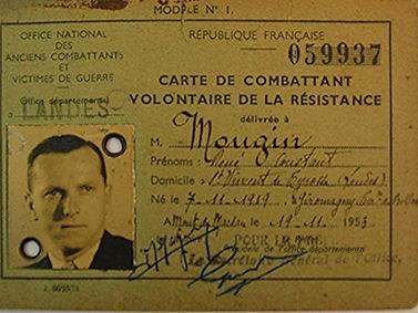 René Mougin carte de combattant volontaire de la résistance 1939-1945
