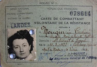 Armande Mougin carte de combattant volontaire de la résistance