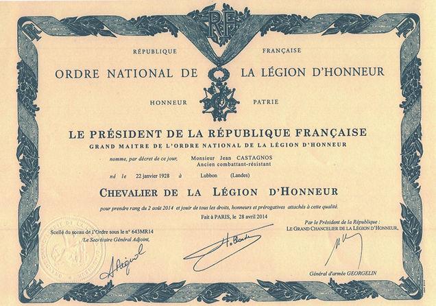 Légion d'honneur de Jean Castagnos pour les parachutages dans les Landes