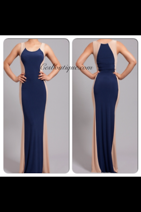 BLUE AND NUDE LONG DRESS
