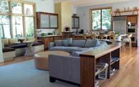 Custom FSC walnut bookcase & sofa