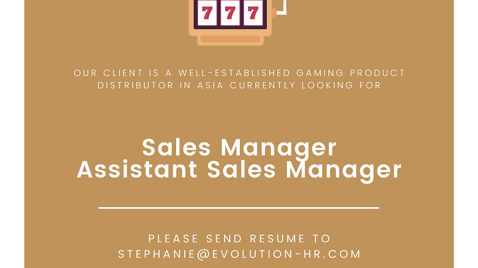 Sales Manager/ Assistant Manager - Slot gaming