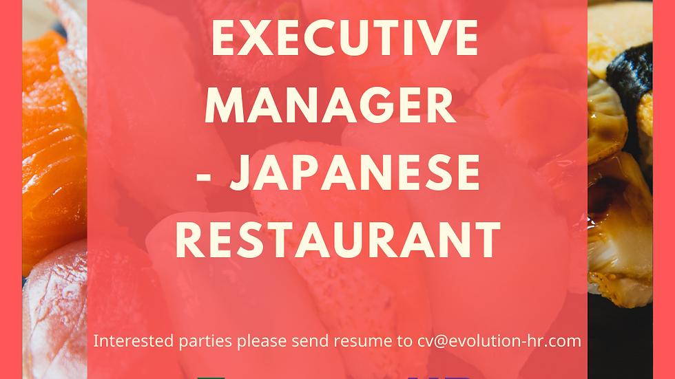 Restaurant Executive Manager – Japanese Cuisine