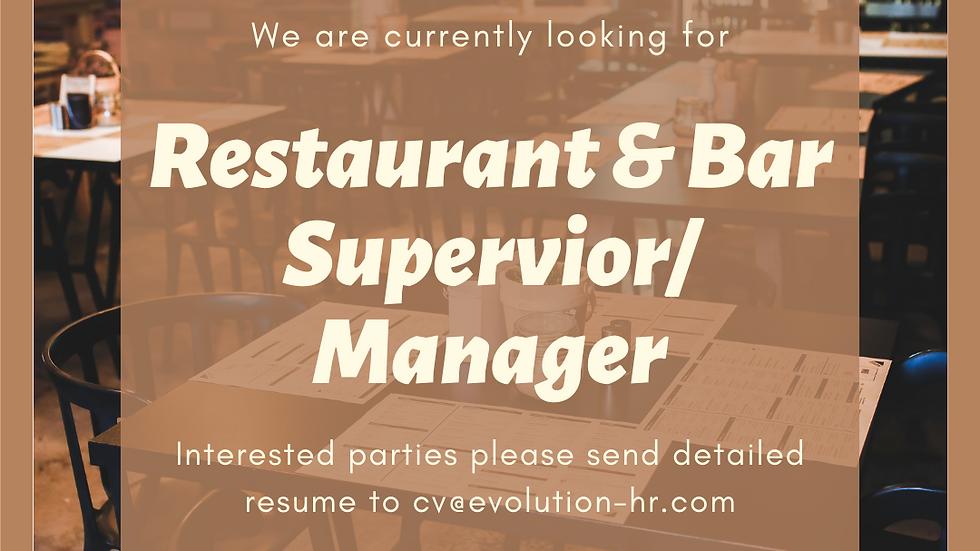 Bar & Restaurant Supervisor/Manager