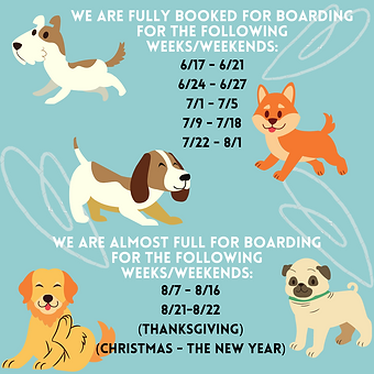 We are FULL BOOKED for Boarding for the