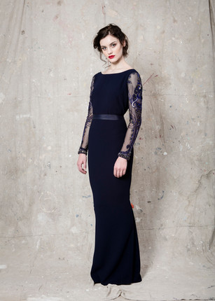 Embellished sleeve navy gown