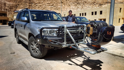 Rigging for a ShotOver F1 stabalised camera system in Jorday