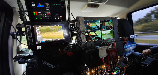 Interior rig from a tracking vehicle we setup for a Grand Tour Shoot with Cobham DCT remote video links and front tracking control