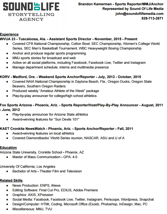 brandon kamerman sports reporter anchor resume