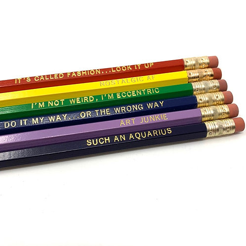 Funny Astrological Aquarius Pencil Set - Cosmic Babe Collection