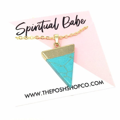 Gold-Plated Turquoise Triangle Necklace