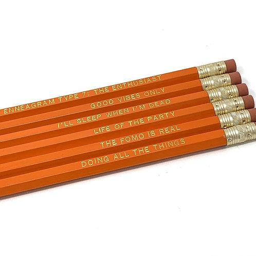 Funny Enneagram Type 7 Pencil Set