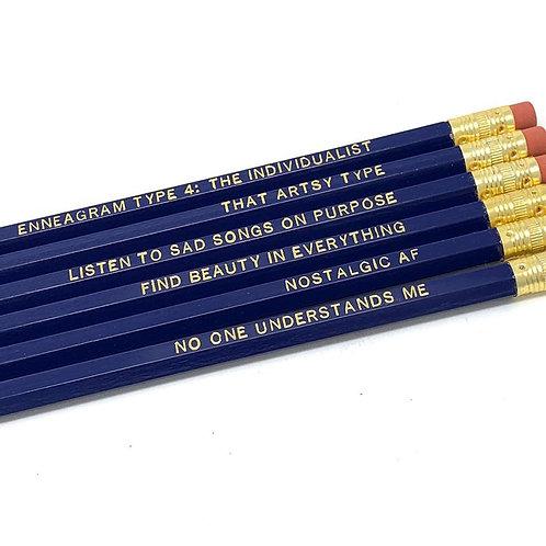 Funny Enneagram Type 4 Pencil Set