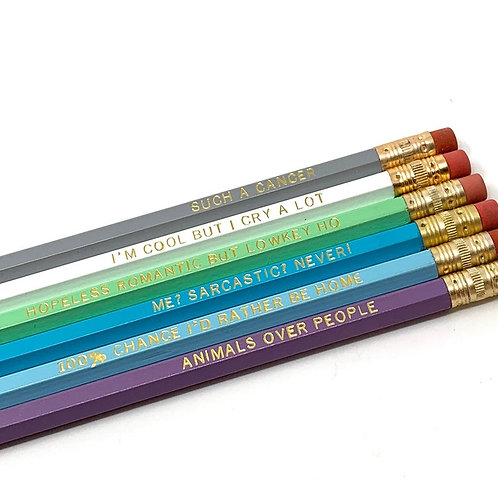 Funny Astrological Cancer Pencil Set - Cosmic Babe Collection