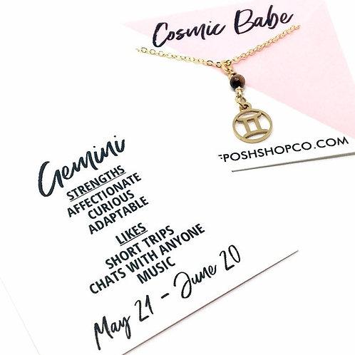 Gemini Zodiac Glyph Necklace