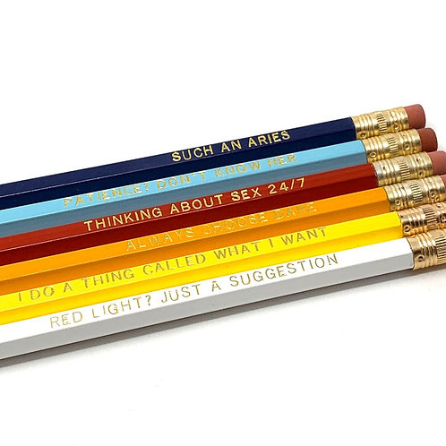 Funny Astrological Aries Pencil Set - Cosmic Babe Collection