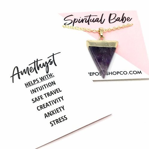 Gold-Plated Amethyst Triangle Necklace