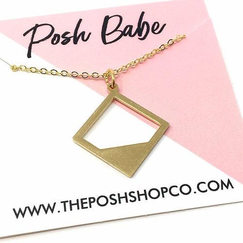 Minimalist  Hallow Square Necklace