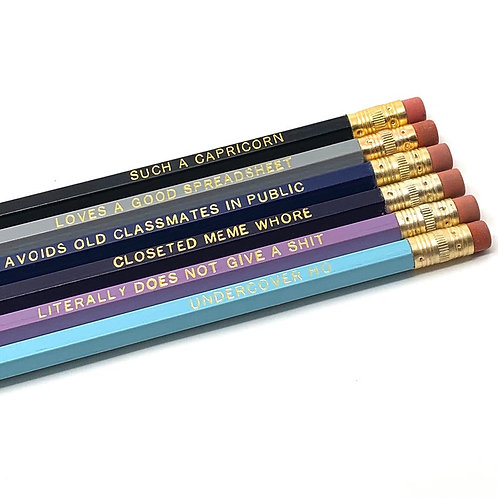 Funny Astrological Capricorn Pencil Set - Cosmic Babe Collection