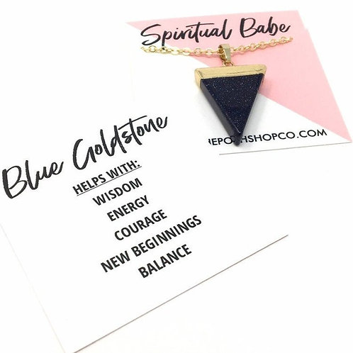 Gold-Plated Blue Goldstone Triangle Necklace