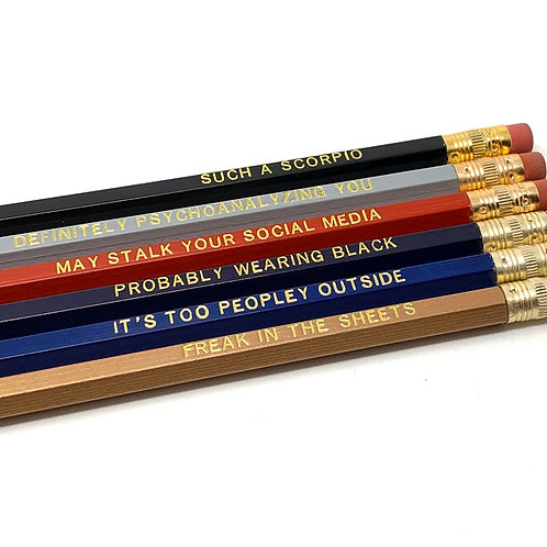 Funny Astrological Scorpio Pencil Set - Cosmic Babe Collection