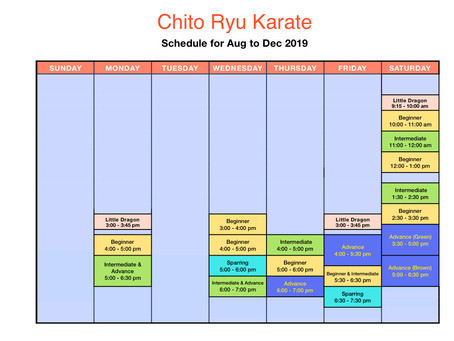 Karate schedule for Aug to Dec 2019