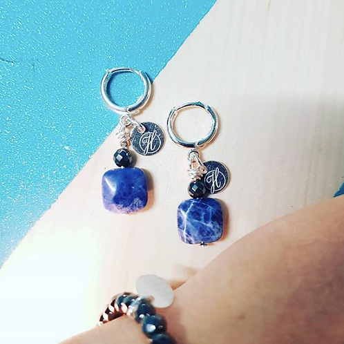 Blue precious earrings
