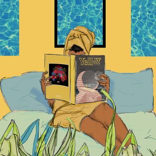 Girl reading Yellow Magazine by Kei Maye