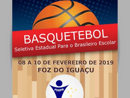 31/01/2019 último dia para Inscrições no Paranaense Escolar de Basquetebol